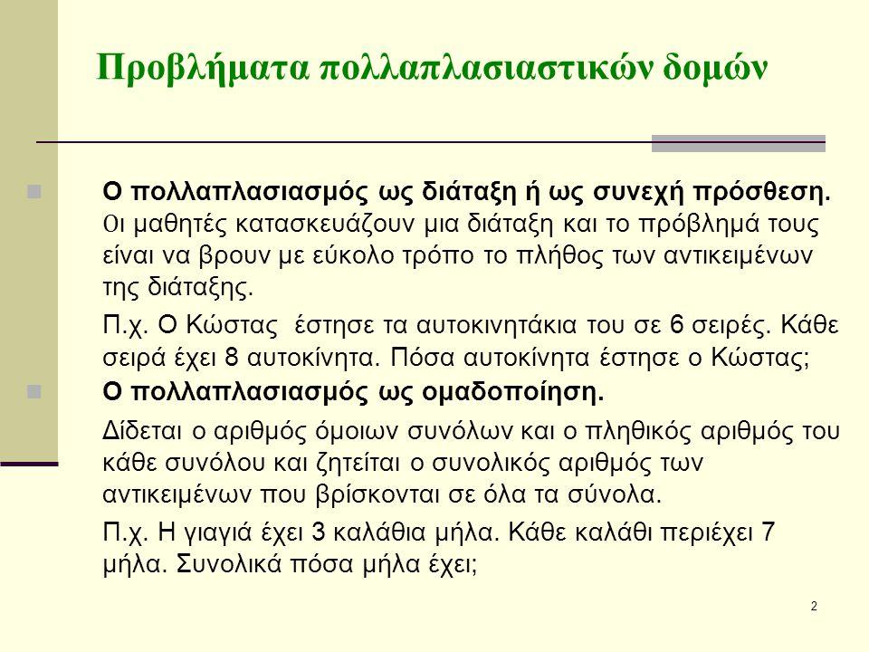2 Ο πολλαπλασιασμός ως διάταξη ή ως συνεχή πρόσθεση.