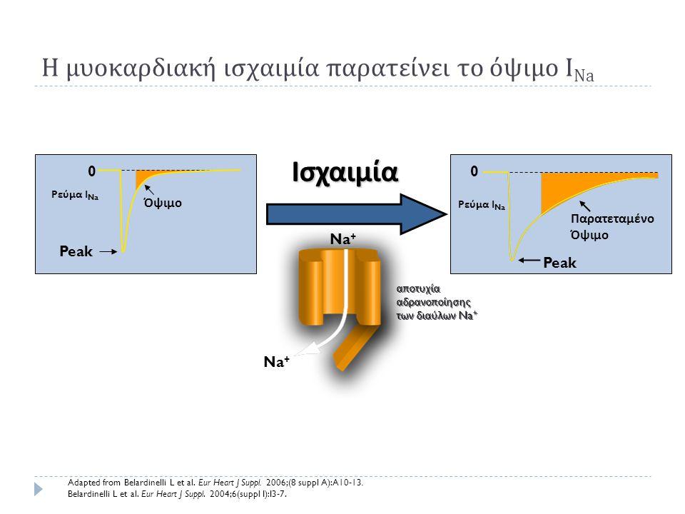 Η μυοκαρδιακή ισχαιμία παρατείνει το όψιμο I Na Ρεύμα Ι Na 0 Όψιμο Peak 0 Παρατεταμένο Όψιμο Peak Ρεύμα Ι Na Na + αποτυχία αδρανοποίησης των διαύλων N