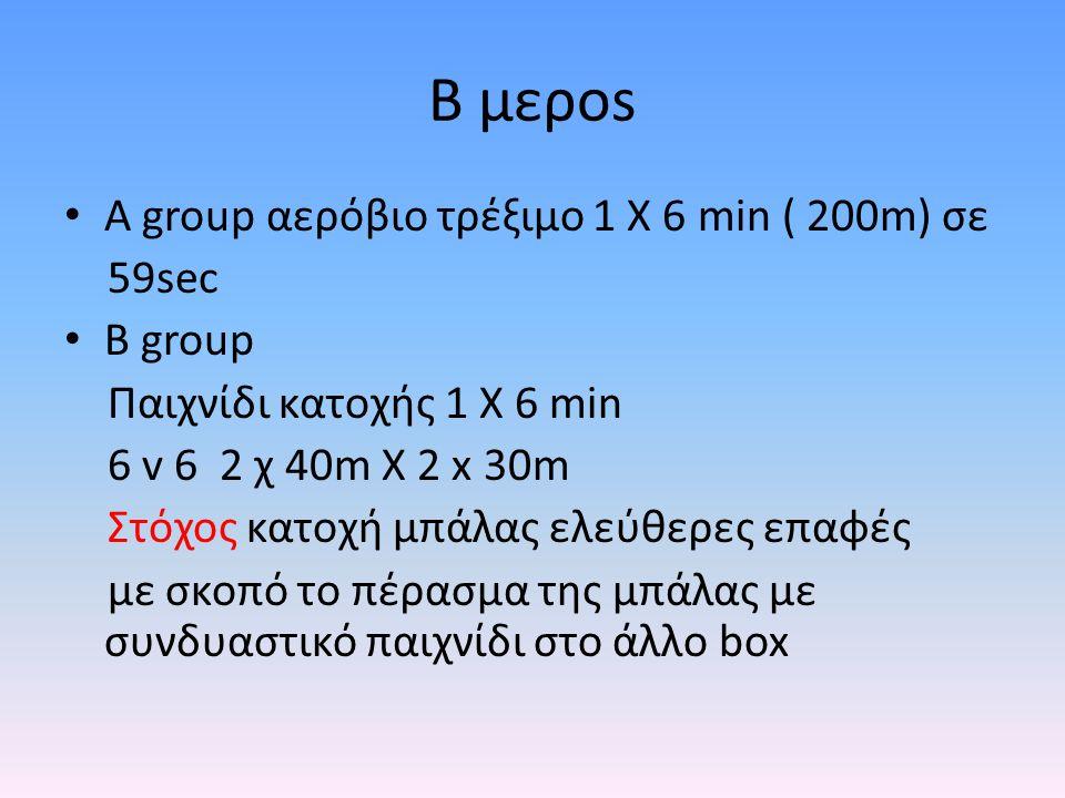 Β μεροs Α group αερόβιο τρέξιμο 1 Χ 6 min ( 200m) σε 59sec B group Παιχνίδι κατοχής 1 Χ 6 min 6 v 6 2 χ 40m X 2 x 30m Στόχος κατοχή μπάλας ελεύθερες ε
