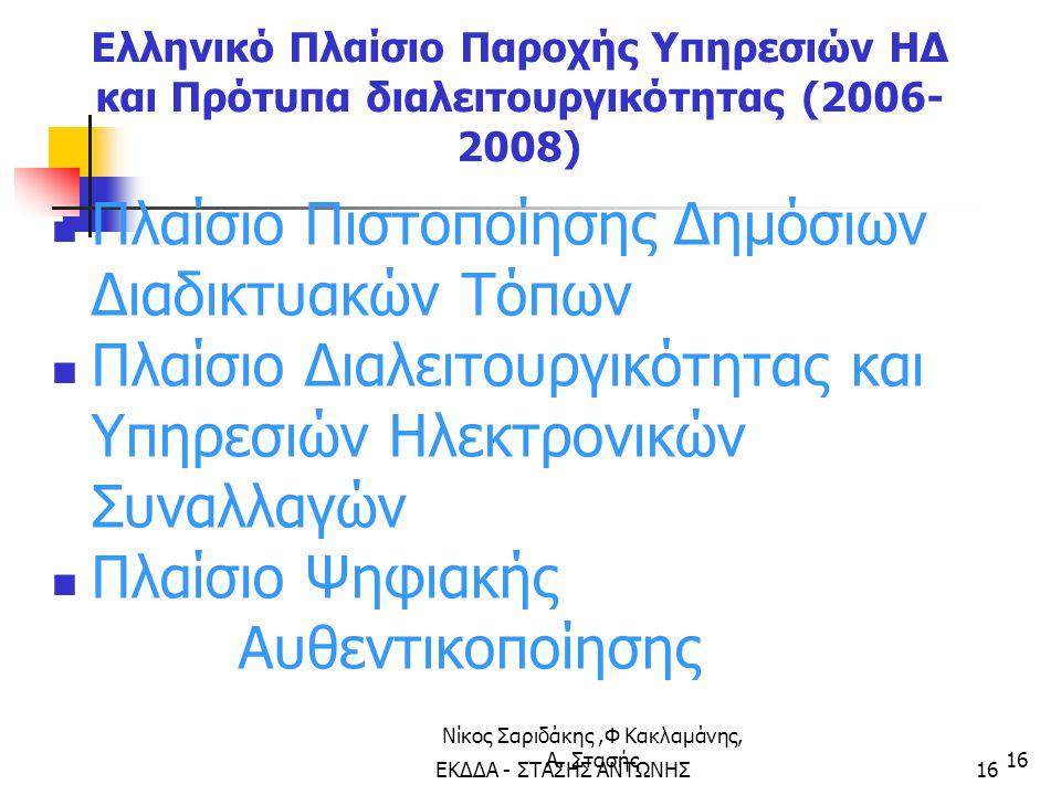 Νίκος Σαριδάκης,Φ Κακλαμάνης, Α. Στασής16 Ελληνικό Πλαίσιο Παροχής Υπηρεσιών ΗΔ και Πρότυπα διαλειτουργικότητας (2006- 2008) Πλαίσιο Πιστοποίησης Δημό