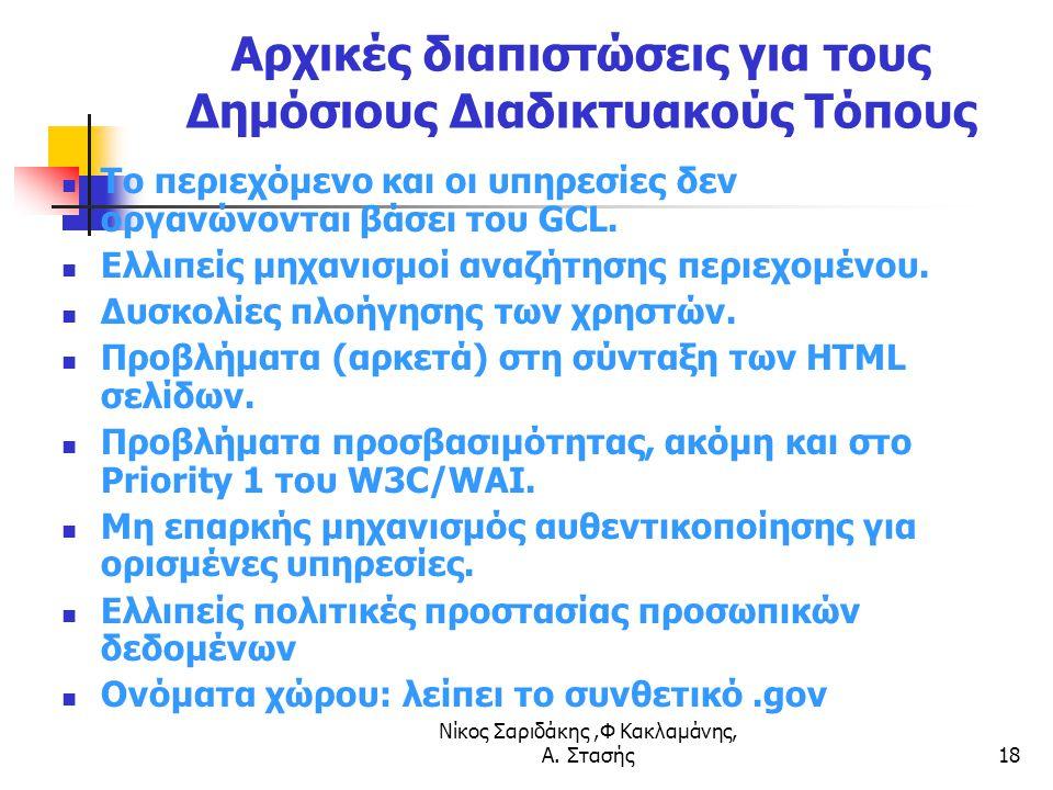 Νίκος Σαριδάκης,Φ Κακλαμάνης, Α. Στασής18 Αρχικές διαπιστώσεις για τους Δημόσιους Διαδικτυακούς Τόπους Το περιεχόμενο και οι υπηρεσίες δεν οργανώνοντα