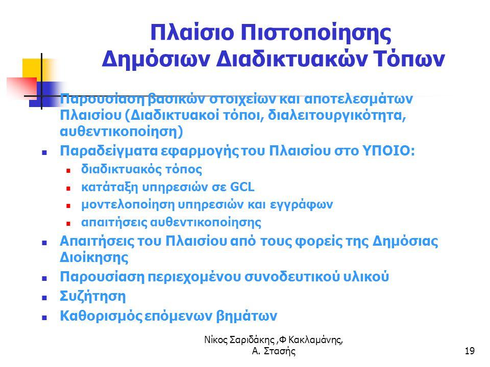 Νίκος Σαριδάκης,Φ Κακλαμάνης, Α. Στασής19 Πλαίσιο Πιστοποίησης Δημόσιων Διαδικτυακών Τόπων Παρουσίαση βασικών στοιχείων και αποτελεσμάτων Πλαισίου (Δι