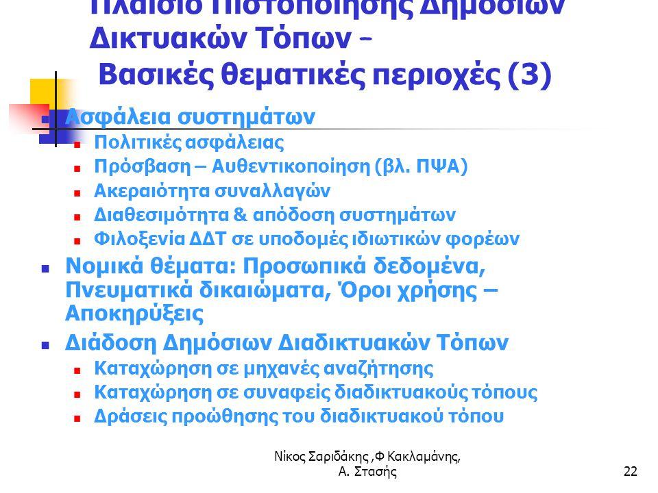 Νίκος Σαριδάκης,Φ Κακλαμάνης, Α. Στασής22 Πλαίσιο Πιστοποίησης Δημόσιων Δικτυακών Τόπων – Βασικές θεματικές περιοχές (3) Ασφάλεια συστημάτων Πολιτικές