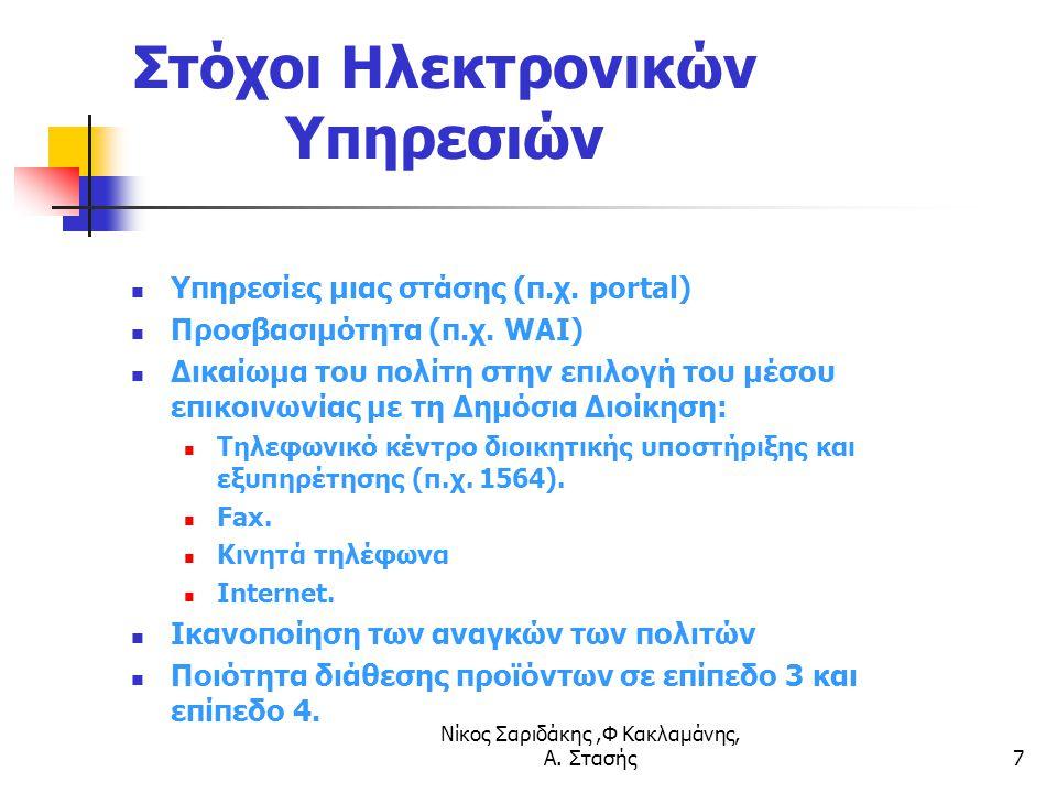 Νίκος Σαριδάκης,Φ Κακλαμάνης, Α. Στασής7 Στόχοι Ηλεκτρονικών Υπηρεσιών Υπηρεσίες μιας στάσης (π.χ. portal) Προσβασιμότητα (π.χ. WAI) Δικαίωμα του πολί