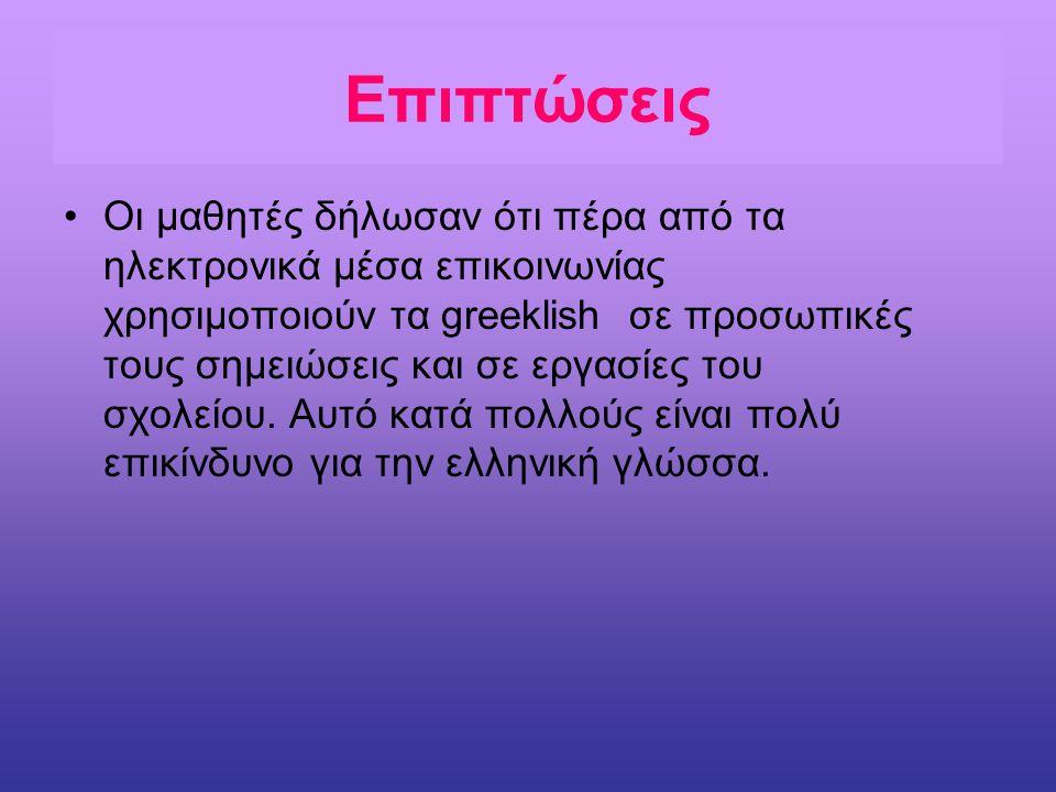 Επιπτώσεις Οι μαθητές δήλωσαν ότι πέρα από τα ηλεκτρονικά μέσα επικοινωνίας χρησιμοποιούν τα greeklish σε προσωπικές τους σημειώσεις και σε εργασίες τ