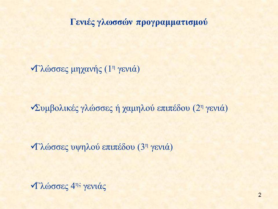 3 Α.Γλώσσες μηχανής (1 η γενιά) Οι εντολές ήταν διατυπωμένες σε ακολουθίες 0 και 1.
