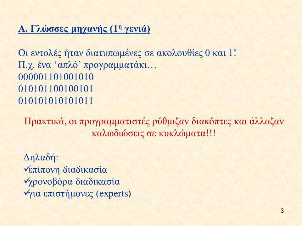 3 Α. Γλώσσες μηχανής (1 η γενιά) Οι εντολές ήταν διατυπωμένες σε ακολουθίες 0 και 1.