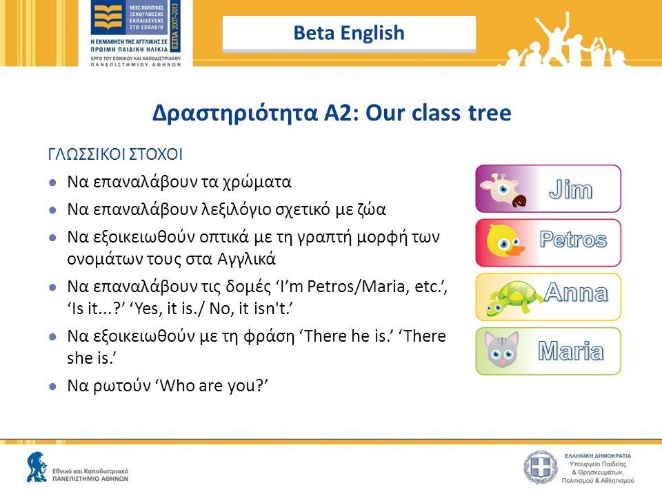 Δραστηριότητα A2: Our class tree ΓΛΩΣΣΙΚΟΙ ΣΤΟΧΟΙ ● Να επαναλάβουν τα χρώματα ● Να επαναλάβουν λεξιλόγιο σχετικό με ζώα ● Να εξοικειωθούν οπτικά με τη