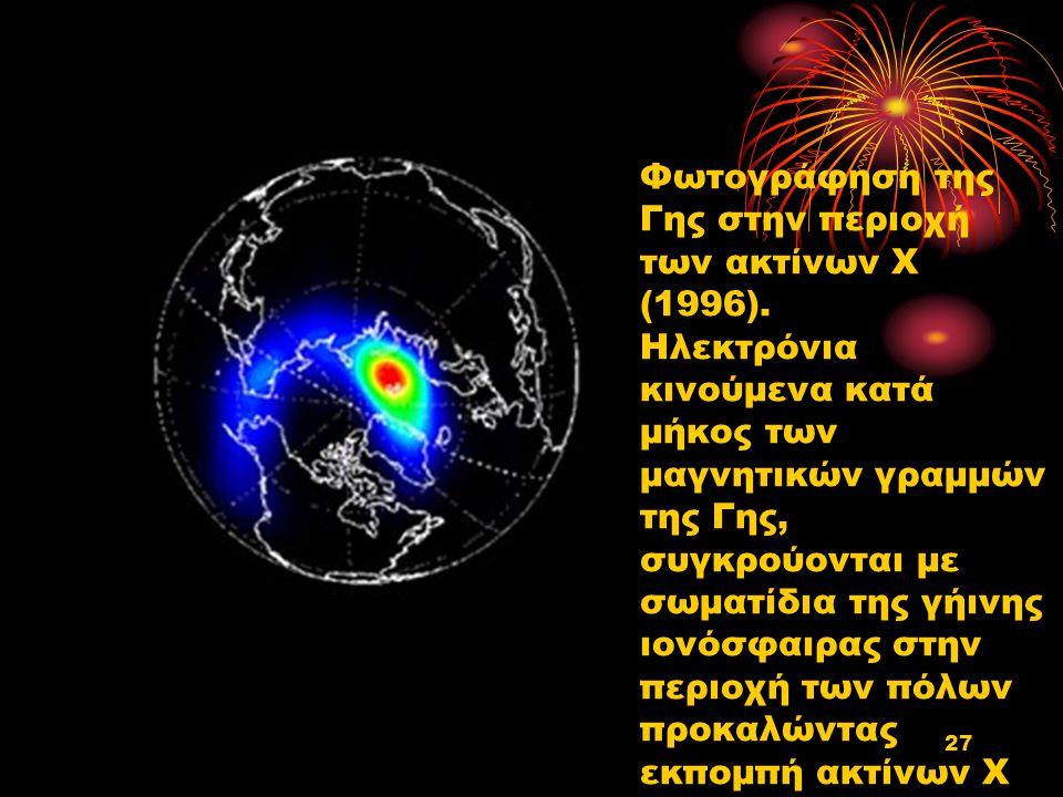 Φωτογράφηση της Γης στην περιοχή των ακτίνων Χ (1996). Ηλεκτρόνια κινούμενα κατά μήκος των μαγνητικών γραμμών της Γης, συγκρούονται με σωματίδια της γ