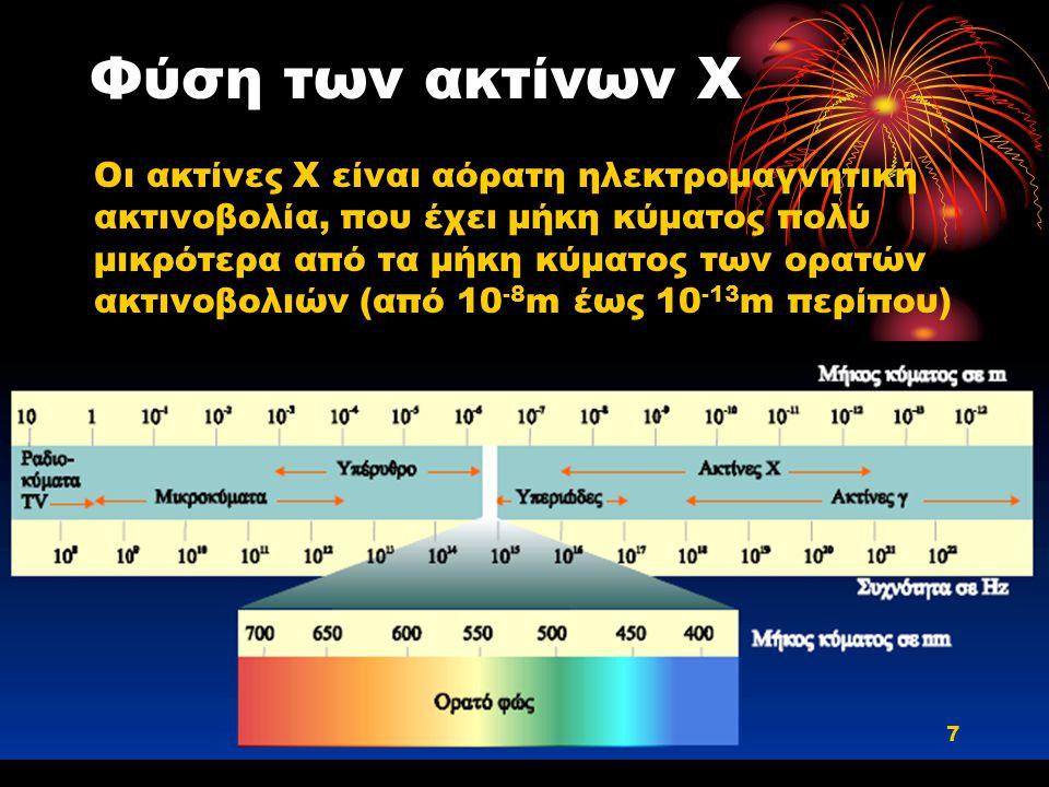 Φύση των ακτίνων Χ Οι ακτίνες Χ είναι αόρατη ηλεκτρομαγνητική ακτινοβολία, που έχει μήκη κύματος πολύ μικρότερα από τα μήκη κύματος των ορατών ακτινοβ