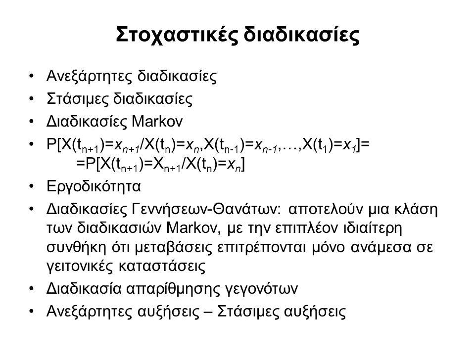 Στοχαστικές διαδικασίες Ανεξάρτητες διαδικασίες Στάσιμες διαδικασίες Διαδικασίες Markov P[X(t n+1 )=x n+1 /X(t n )=x n,X(t n-1 )=x n-1,…,X(t 1 )=x 1 ]