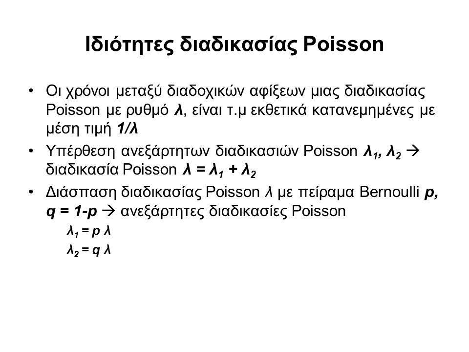 Ιδιότητες διαδικασίας Poisson Οι χρόνοι μεταξύ διαδοχικών αφίξεων μιας διαδικασίας Poisson με ρυθμό λ, είναι τ.μ εκθετικά κατανεμημένες με μέση τιμή 1