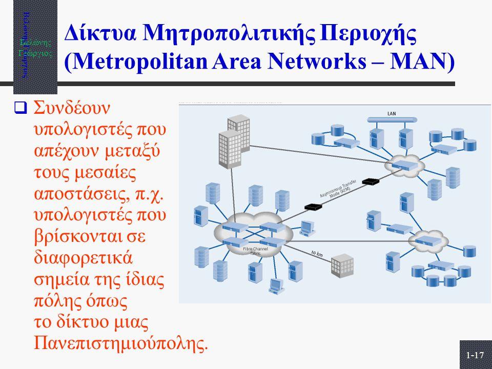 Βελώνης Γεώργιος 1-17 Δίκτυα Μητροπολιτικής Περιοχής (Metropolitan Area Networks – MAN)  Συνδέουν υπολογιστές που απέχουν μεταξύ τους μεσαίες αποστάσ