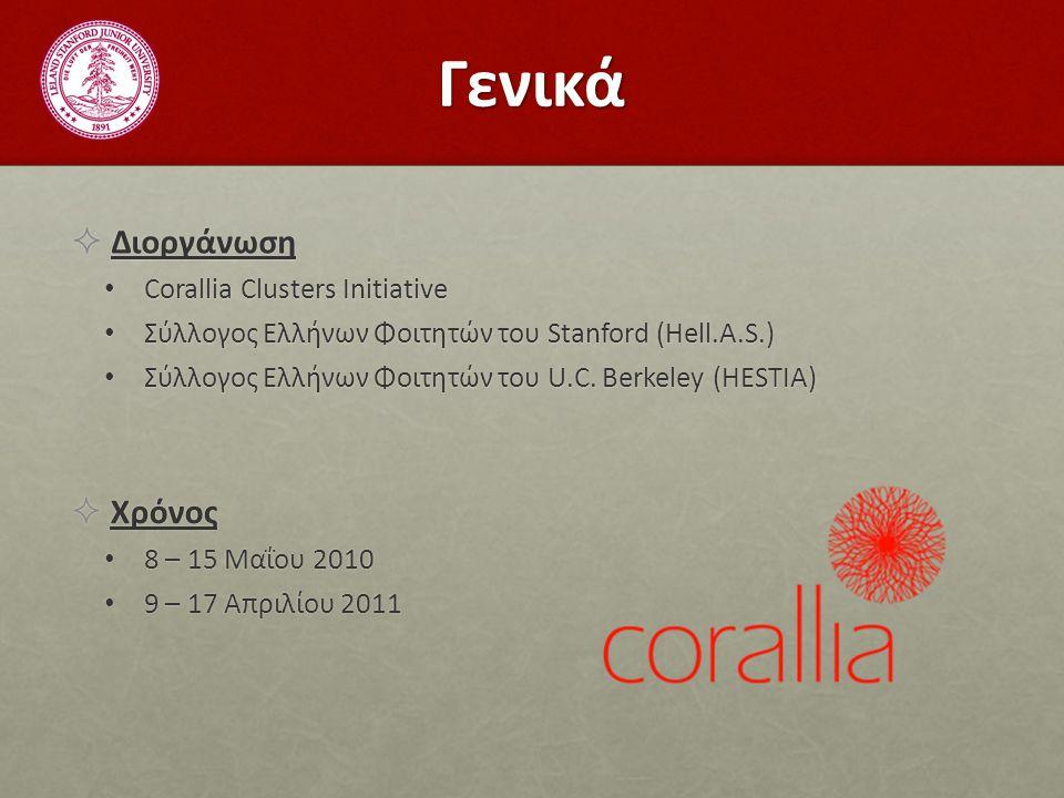 Γενικά  Διοργάνωση Corallia Clusters Initiative Corallia Clusters Initiative Σύλλογος Ελλήνων Φοιτητών του Stanford (Hell.A.S.) Σύλλογος Ελλήνων Φοιτητών του Stanford (Hell.A.S.) Σύλλογος Ελλήνων Φοιτητών του U.C.
