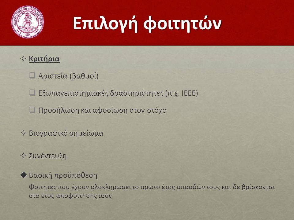 Επιλογή φοιτητών  Κριτήρια  Αριστεία (βαθμοί)  Εξωπανεπιστημιακές δραστηριότητες (π.χ.