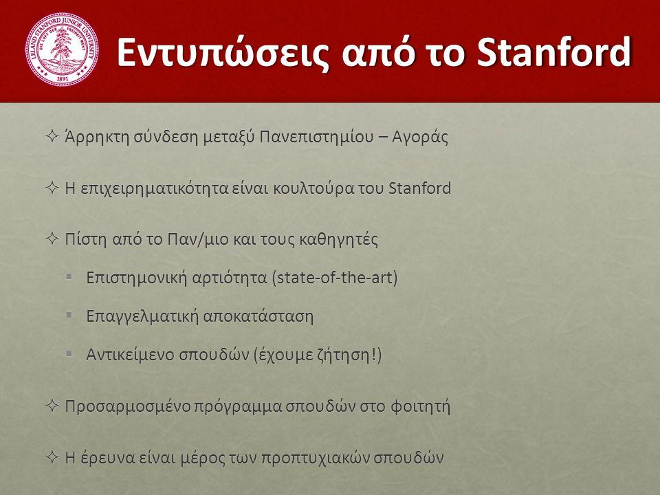 Εντυπώσεις από το Stanford  Άρρηκτη σύνδεση μεταξύ Πανεπιστημίου – Αγοράς  Η επιχειρηματικότητα είναι κουλτούρα του Stanford  Πίστη από το Παν/μιο και τους καθηγητές  Επιστημονική αρτιότητα (state-of-the-art)  Επαγγελματική αποκατάσταση  Αντικείμενο σπουδών (έχουμε ζήτηση!)  Προσαρμοσμένο πρόγραμμα σπουδών στο φοιτητή  Η έρευνα είναι μέρος των προπτυχιακών σπουδών