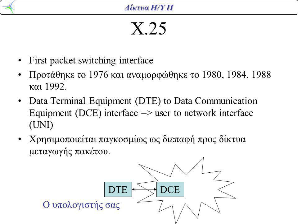 Δίκτυα Η/Υ ΙΙ X.25 First packet switching interface Προτάθηκε το 1976 και αναμορφώθηκε το 1980, 1984, 1988 και 1992. Data Terminal Equipment (DTE) to