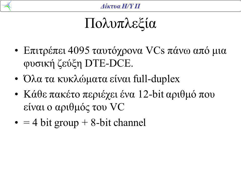 Δίκτυα Η/Υ ΙΙ Πολυπλεξία Επιτρέπει 4095 ταυτόχρονα VCs πάνω από μια φυσική ζεύξη DTE-DCE. Όλα τα κυκλώματα είναι full-duplex Κάθε πακέτο περιέχει ένα