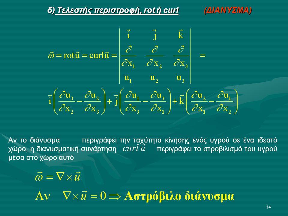 14 δ) Τελεστής περιστροφή, rot ή curl (ΔΙΑΝΥΣΜΑ) Αν το διάνυσμα περιγράφει την ταχύτητα κίνησης ενός υγρού σε ένα ιδεατό χώρο, η διανυσματική συνάρτησ