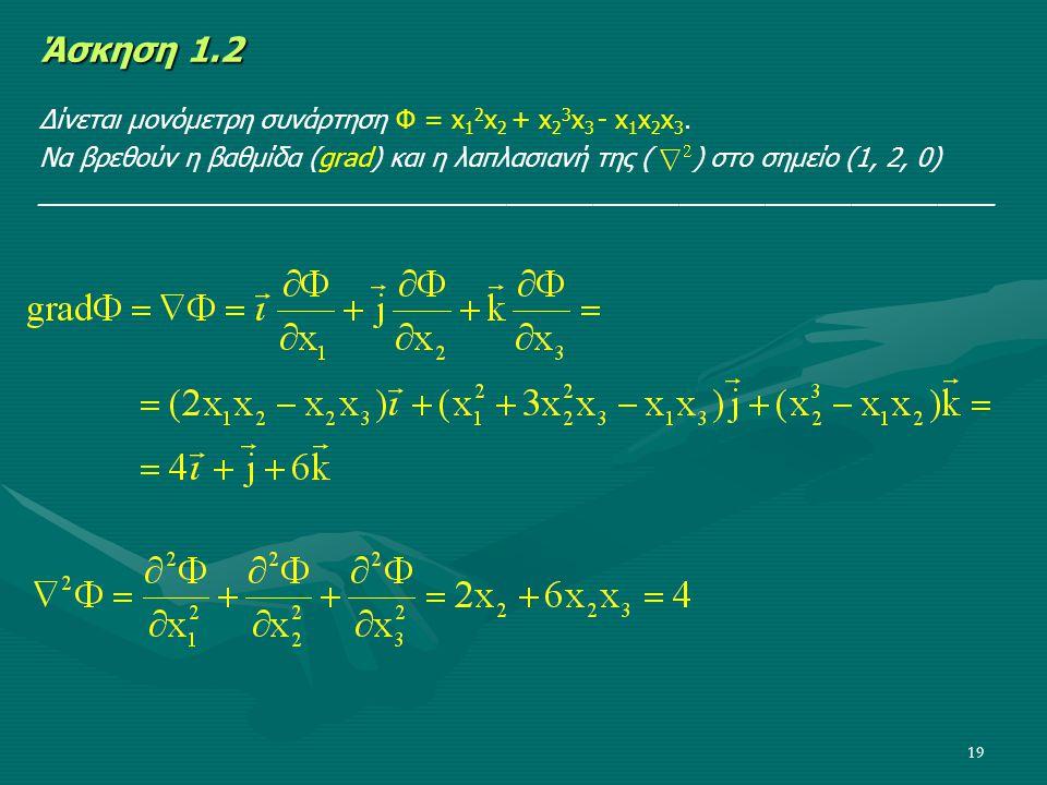 19 Άσκηση 1.2 Δίνεται μονόμετρη συνάρτηση Φ = x 1 2 x 2 + x 2 3 x 3 - x 1 x 2 x 3. Να βρεθούν η βαθμίδα (grad) και η λαπλασιανή της ( ) στο σημείο (1,