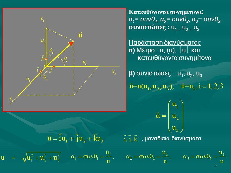 2 Κατευθύνοντα συνημίτονα : α 1 = συνθ 1, α 2 = συνθ 2, α 3 = συνθ 3 συνιστώσες : u 1, u 2, u 3 Παράσταση διανύσματος α) Μέτρο : u, (u),  u  και κατ