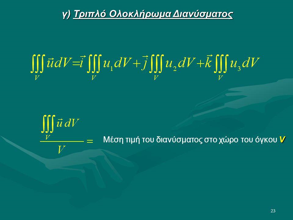23 γ) Τριπλό Ολοκλήρωμα Διανύσματος V Μέση τιμή του διανύσματος στο χώρο του όγκου V