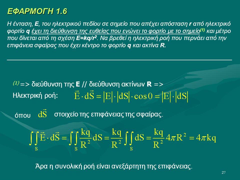 27 (1) => διεύθυνση της Ε // διεύθυνση ακτίνων R => Ηλεκτρική ροή: όπου Άρα η συνολική ροή είναι ανεξάρτητη της επιφάνειας. ΕΦΑΡΜΟΓΗ 1.6 Η ένταση, E,