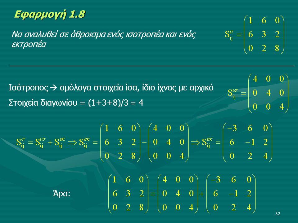 32 Εφαρμογή 1.8 Να αναλυθεί σε άθροισμα ενός ισοτροπέα και ενός εκτροπέα _______________________________________________________________ Ισότροπος  ο