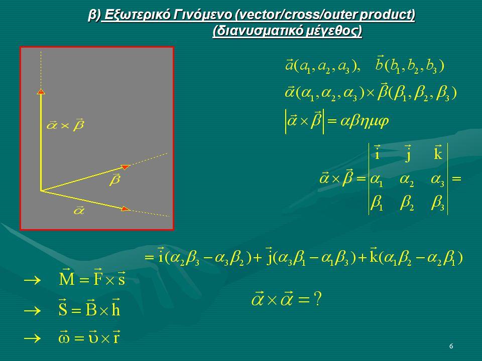 6 β) Εξωτερικό Γινόμενο (vector/cross/outer product) (διανυσματικό μέγεθος)