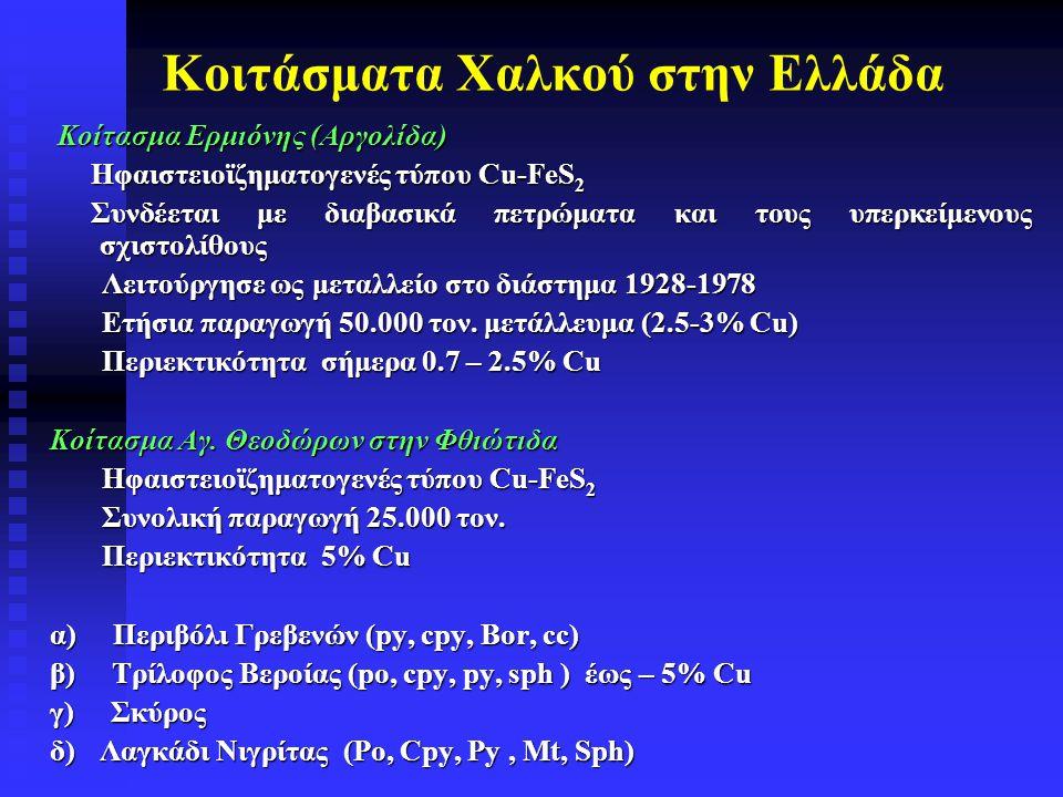 Κοιτάσματα Χαλκού στην Ελλάδα Koίτασμα Ερμιόνης (Αργολίδα) Koίτασμα Ερμιόνης (Αργολίδα) Ηφαιστειοϊζηματογενές τύπου Cu-FeS 2 Συνδέεται με διαβασικά πε