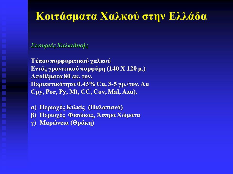Κοιτάσματα Χαλκού στην Ελλάδα Σκουριές Χαλκιδικής Τύπου πορφυριτικού χαλκού Εντός γρανιτικού πορφύρη (140 Χ 120 μ.) Αποθέματα 80 εκ. τον. Περιεκτικότη