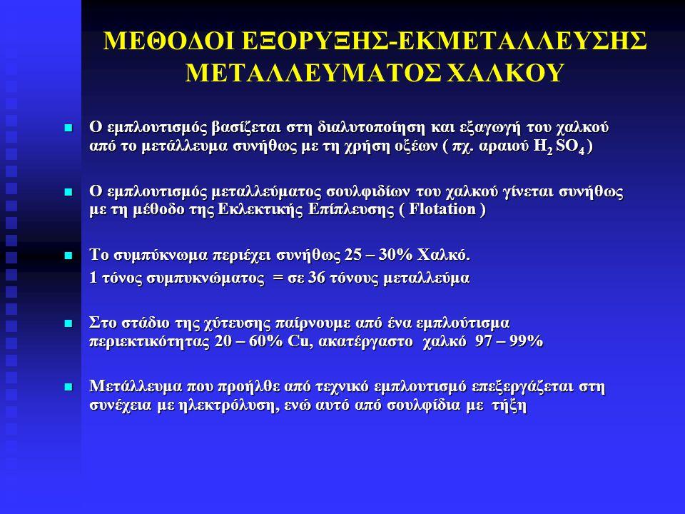 ΜΕΘΟΔΟΙ ΕΞΟΡΥΞΗΣ-ΕΚΜΕΤΑΛΛΕΥΣΗΣ ΜΕΤΑΛΛΕΥΜΑΤΟΣ ΧΑΛΚΟΥ Ο εμπλουτισμός βασίζεται στη διαλυτοποίηση και εξαγωγή του χαλκού από το μετάλλευμα συνήθως με τη