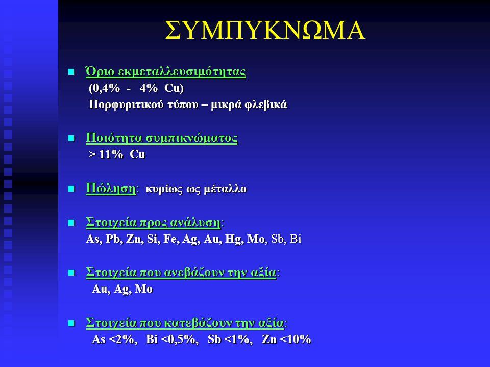 ΣΥΜΠΥΚΝΩΜΑ Όριο εκμεταλλευσιμότητας Όριο εκμεταλλευσιμότητας (0,4% - 4% Cu) (0,4% - 4% Cu) Πορφυριτικού τύπου – μικρά φλεβικά Πορφυριτικού τύπου – μικ