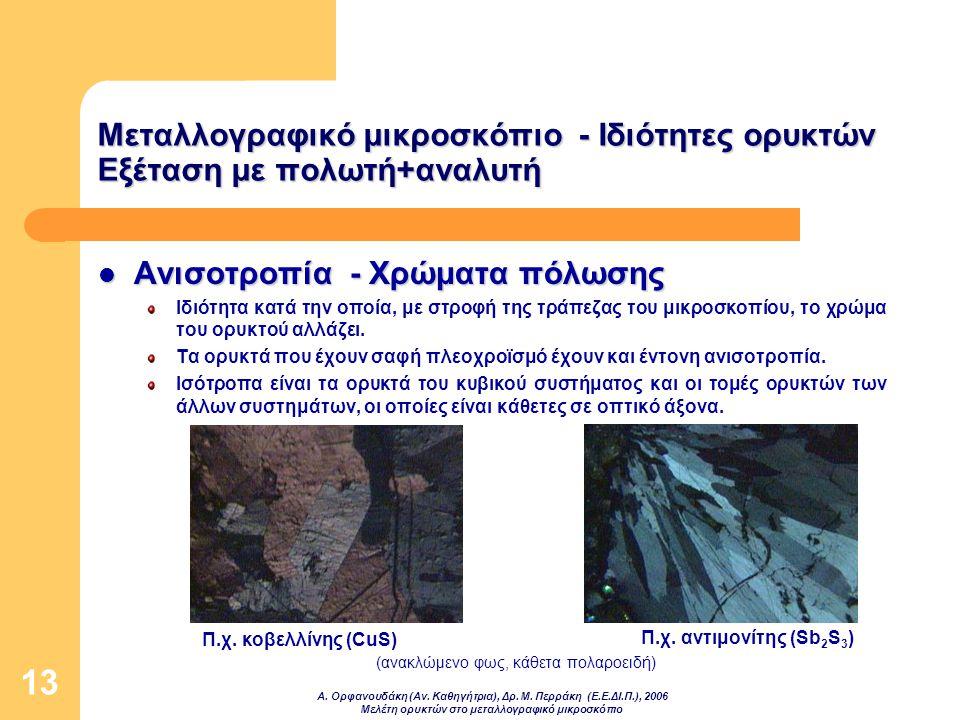 Α. Ορφανουδάκη (Αν. Καθηγήτρια), Δρ. Μ. Περράκη (Ε.Ε.ΔΙ.Π.), 2006 Μελέτη ορυκτών στο μεταλλογραφικό μικροσκόπιο 13 Μεταλλογραφικό μικροσκόπιο - Ιδιότη