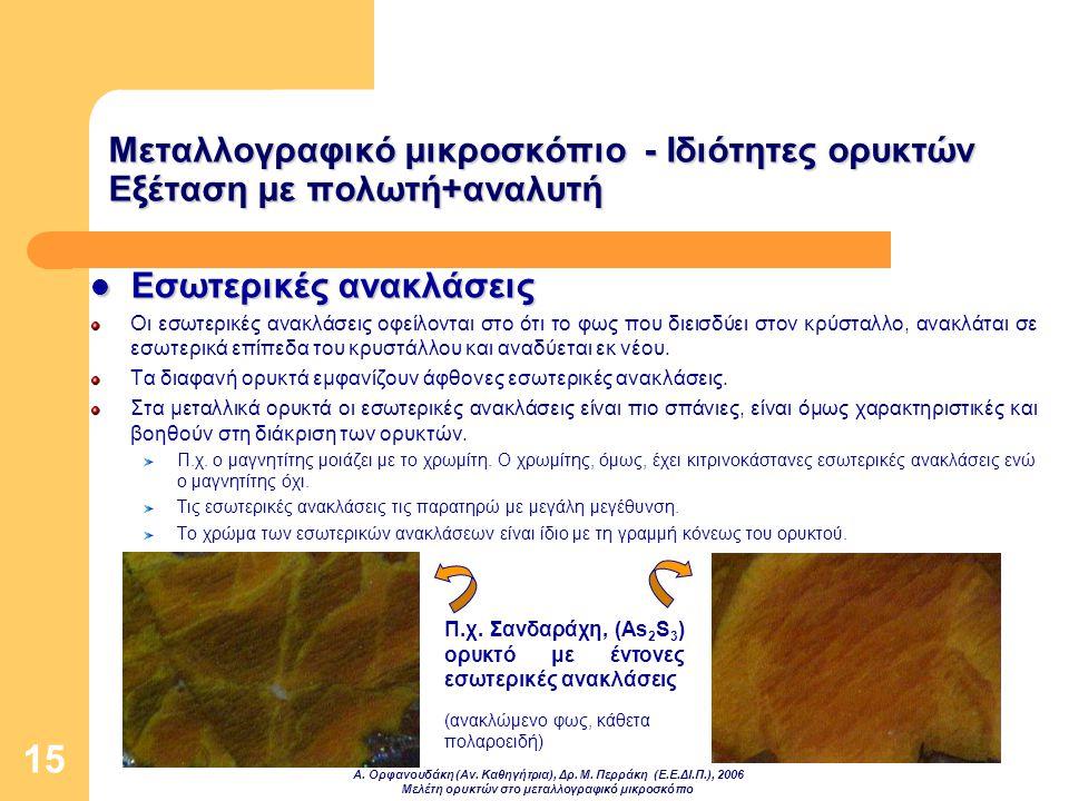 Α. Ορφανουδάκη (Αν. Καθηγήτρια), Δρ. Μ. Περράκη (Ε.Ε.ΔΙ.Π.), 2006 Μελέτη ορυκτών στο μεταλλογραφικό μικροσκόπιο 15 Μεταλλογραφικό μικροσκόπιο - Ιδιότη