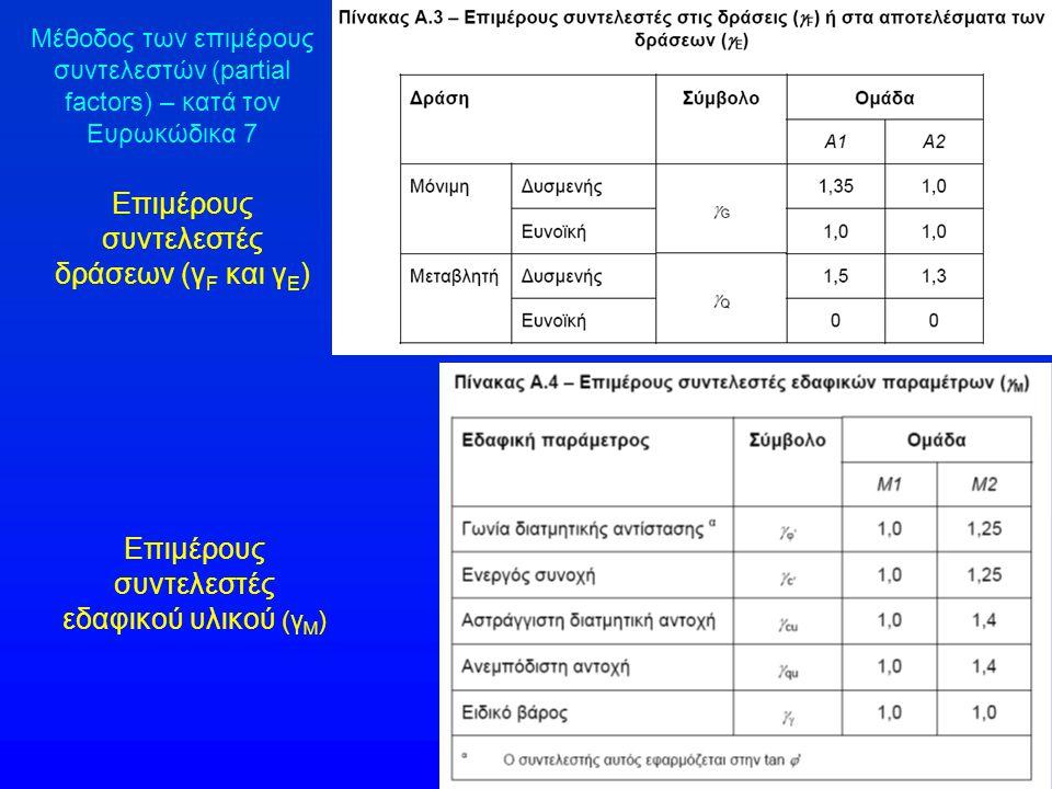 Επιμέρους συντελεστές δράσεων (γ F και γ Ε ) Επιμέρους συντελεστές εδαφικού υλικού (γ Μ ) Μέθοδος των επιμέρους συντελεστών (partial factors) – κατά τον Ευρωκώδικα 7