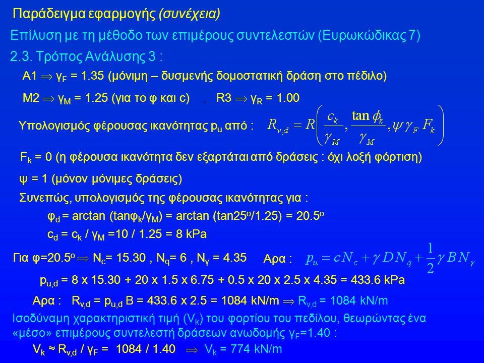 Παράδειγμα εφαρμογής (συνέχεια) Επίλυση με τη μέθοδο των επιμέρους συντελεστών (Ευρωκώδικας 7) 2.3.