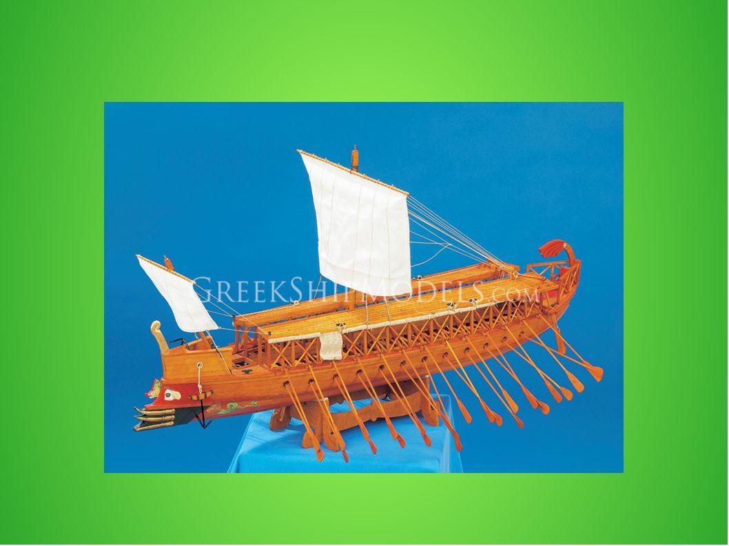 Βασικό αίτιο δημιουργίας: πειρατεία (μάστιγα για το ελληνικό εμπόριο) Σε ολόκληρο το χώρο της εκτός της (πρώρας και της πρύμνης) υπήρχε 150- 174 ερέτες και η ταχύτητά οφειλόταν σε αυτούς, οι οποίοι ήταν χωρισμένοι σε τρεις τάξεις: 1) θρανίτες 2)ζυγίτες 3) θαλαμίτες