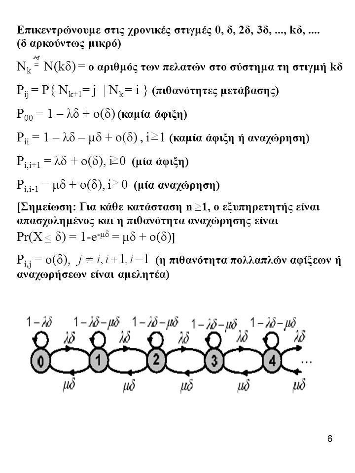 7 Έστω p n η πιθανότητα το σύστημα να βρίσκεται στην κατάσταση n όταν το σύστημα είναι στην σταθερή κατάσταση ( steady state probabilities ) Σημείωση: Για ένα αυθαίρετα μεγάλο χρονικό διάστημα, ο αριθμός των μεταβάσεων από την n στην n+1 είναι ίδιος με τον αριθμό των μεταβάσεων από την n+1 στην n (+/- 1).