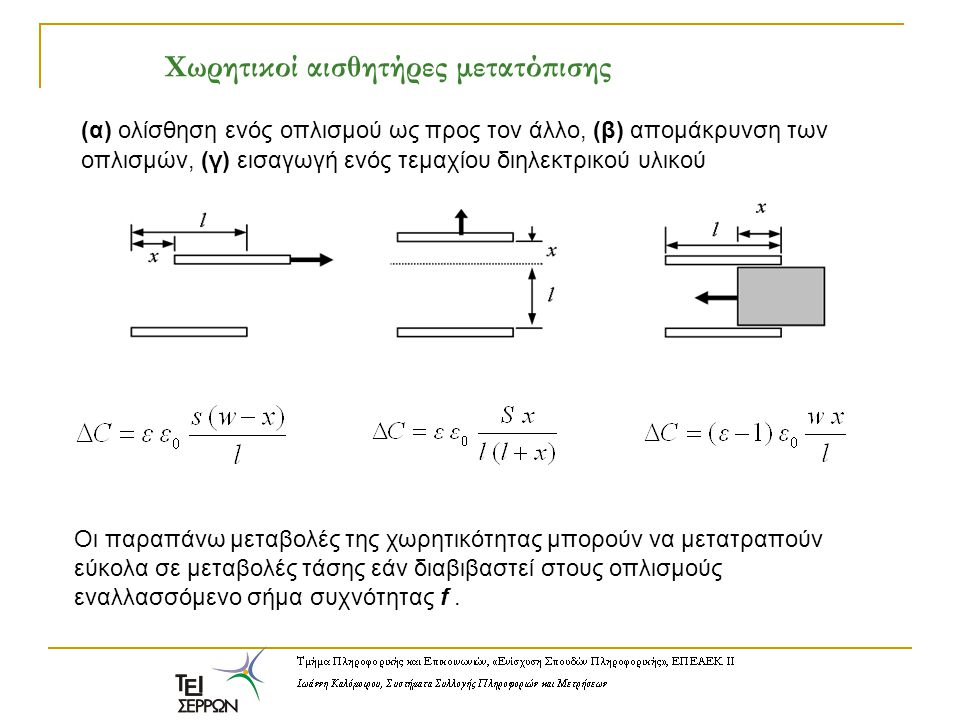 (α) ολίσθηση ενός οπλισμού ως προς τον άλλο, (β) απομάκρυνση των οπλισμών, (γ) εισαγωγή ενός τεμαχίου διηλεκτρικού υλικού Οι παραπάνω μεταβολές της χω