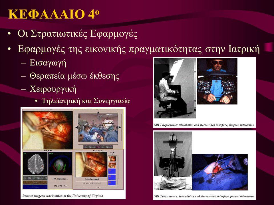 Οι Στρατιωτικές Εφαρμογές Εφαρμογές της εικονικής πραγματικότητας στην Ιατρική –Εισαγωγή –Θεραπεία μέσω έκθεσης –Χειρουργική Τηλεϊατρική και Συνεργασί