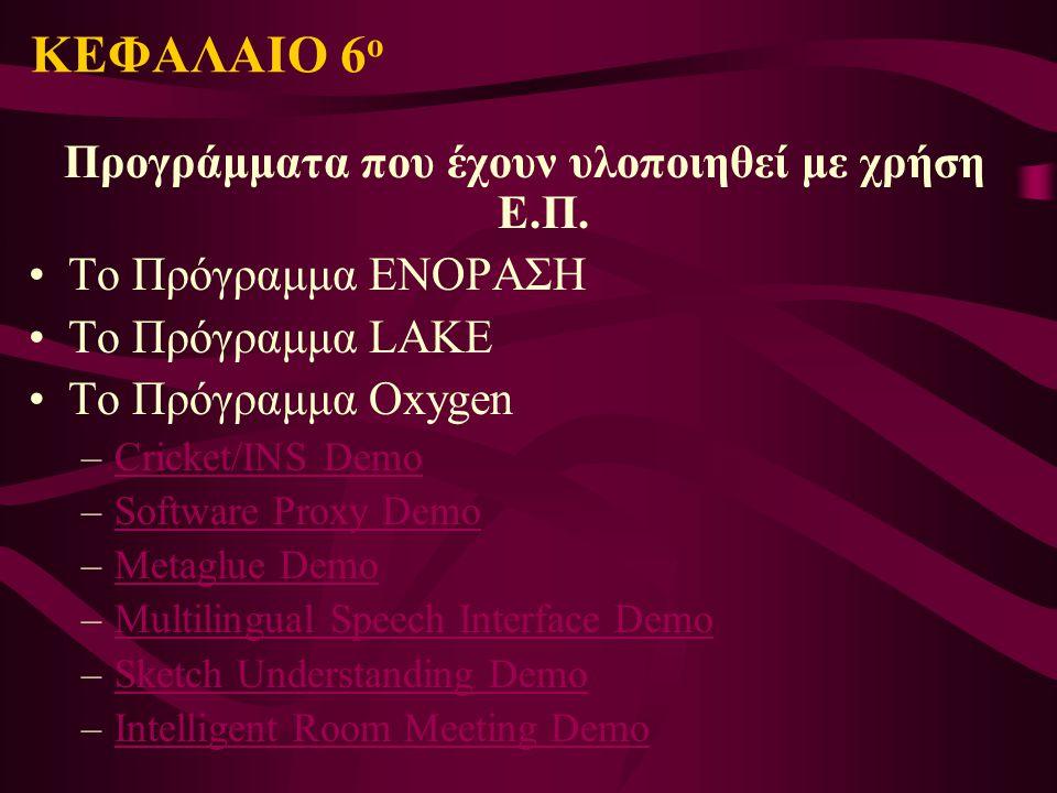 ΚΕΦΑΛΑΙΟ 6 ο Προγράμματα που έχουν υλοποιηθεί με χρήση Ε.Π. Το Πρόγραμμα ΕΝΟΡΑΣΗ Το Πρόγραμμα LAKE Το Πρόγραμμα Oxygen –Cricket/INS DemoCricket/INS De