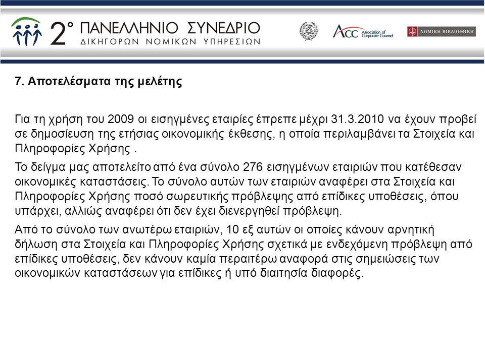 7. Αποτελέσματα της μελέτης Για τη χρήση του 2009 οι εισηγμένες εταιρίες έπρεπε μέχρι 31.3.2010 να έχουν προβεί σε δημοσίευση της ετήσιας οικονομικής