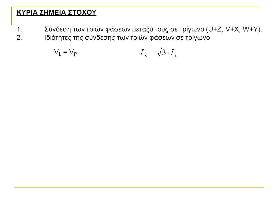 ΚΥΡΙΑ ΣΗΜΕΙΑ ΣΤΟΧΟΥ 1.Σύνδεση των τριών φάσεων μεταξύ τους σε τρίγωνο (U+Z, V+X, W+Y).