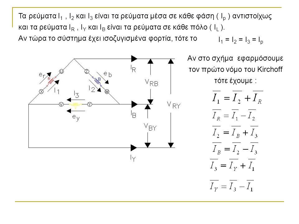 Τα ρεύματα I 1, I 2 και I 3 είναι τα ρεύματα μέσα σε κάθε φάση ( I p ) αντιστοίχως και τα ρεύματα I R, I Y και I B είναι τα ρεύματα σε κάθε πόλο ( I L ).