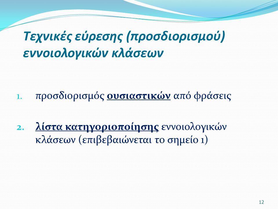 Τεχνικές εύρεσης (προσδιορισμού) εννοιολογικών κλάσεων 1. προσδιορισμός ουσιαστικών από φράσεις 2. λίστα κατηγοριοποίησης εννοιολογικών κλάσεων (επιβε