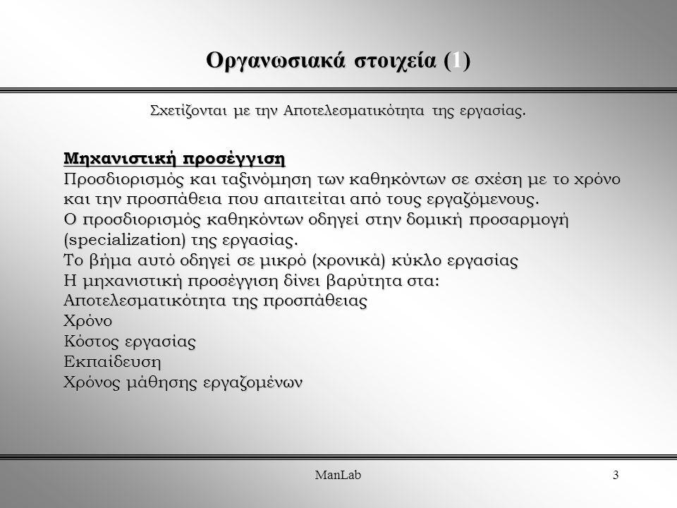 ManLab3 Οργανωσιακά στοιχεία (1) Σχετίζονται με την Αποτελεσματικότητα της εργασίας.