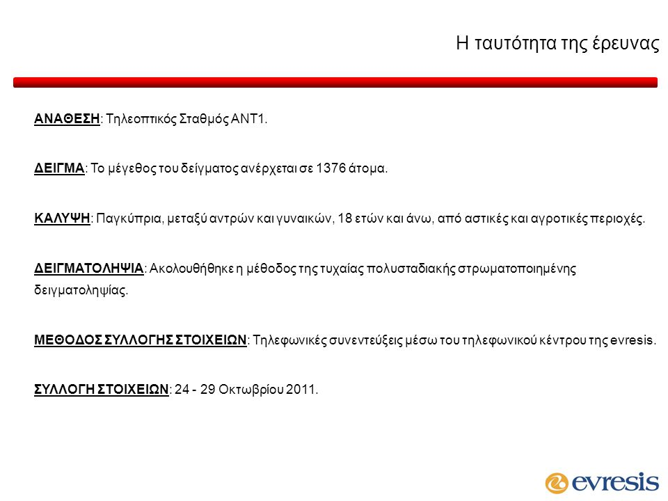 Η ταυτότητα της έρευνας ΑΝΑΘΕΣΗ: Τηλεοπτικός Σταθμός ΑΝΤ1.