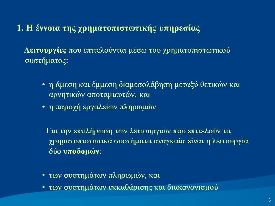 3 1. Η έννοια της χρηματοπιστωτικής υπηρεσίας Λειτουργίες που επιτελούνται μέσω του χρηματοπιστωτικού συστήματος: η άμεση και έμμεση διαμεσολάβηση μετ