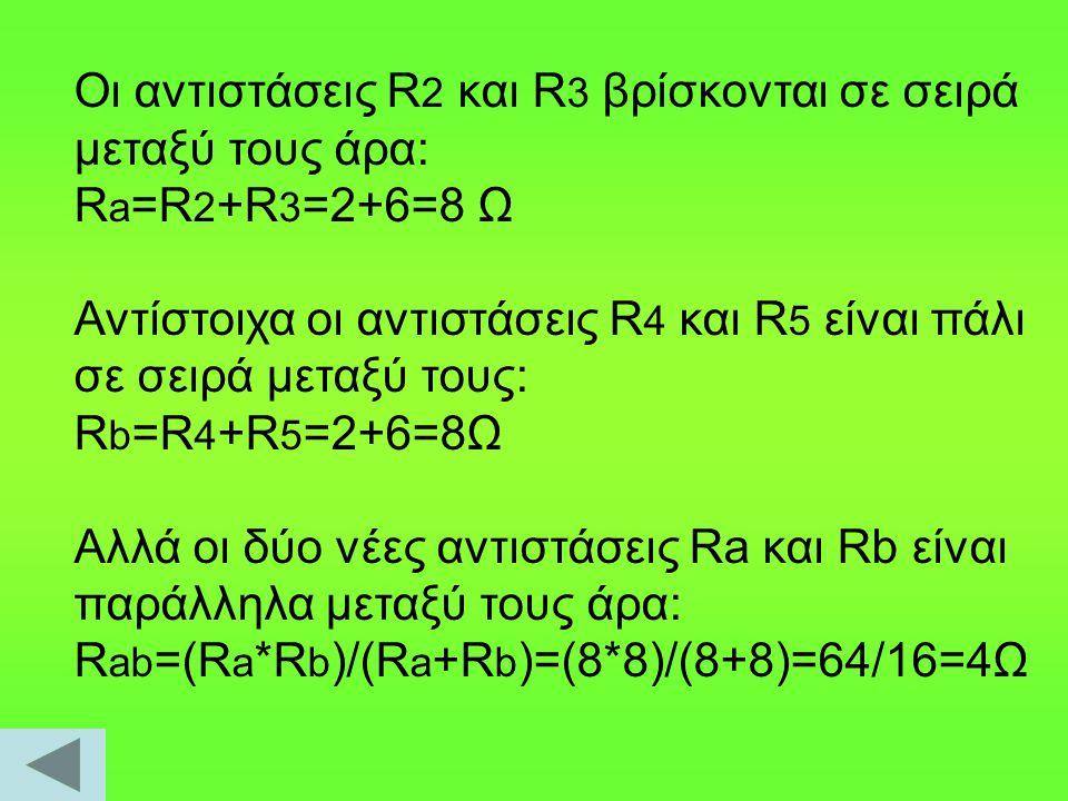 Οι αντιστάσεις R 2 και R 3 βρίσκονται σε σειρά μεταξύ τους άρα: R a =R 2 +R 3 =2+6=8 Ω Αντίστοιχα οι αντιστάσεις R 4 και R 5 είναι πάλι σε σειρά μεταξ